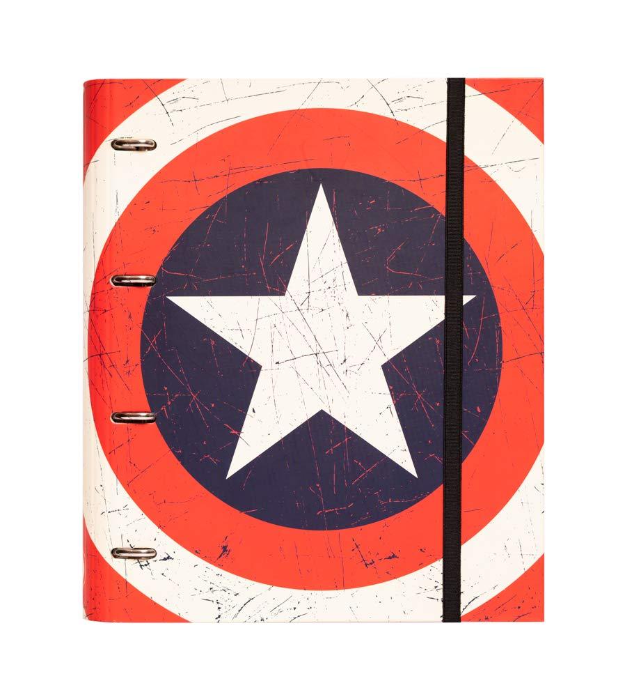Grupo Erik Editores Premium Marvel - Carpeta troquelada, 4 anillas, diseño Capitan America Shield, 32 x 27.5 cm