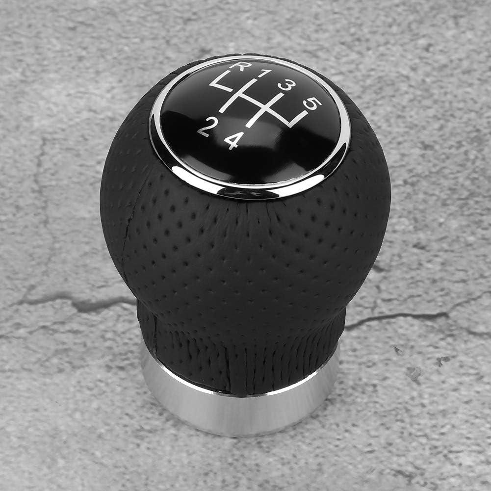 EBTOOLS 5Speed // 6Speed Schaltknauf Universal Car Schaltknauf Stick Black Leather Head Shifter Hebel 5 Geschwindigkeit