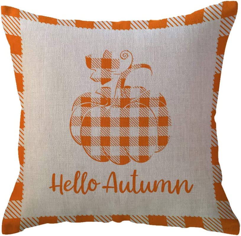 Hello Autumn Pumpkin Decorative Throw Pillow Covers Orange Checkers Plaid Farmhouse Decorations Cushion Pillowcase 18X18 Inch for Autumn Harvest/Blessed/Thanksgiving Decor (Orange)