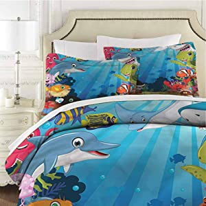Whale Queen Size Sheet Set-3 Piece Set,Comforter Set Bed Comforter Bedding Set Shark Fin with Sea Plants Easy Care Bedding Cover Washed Microfiber