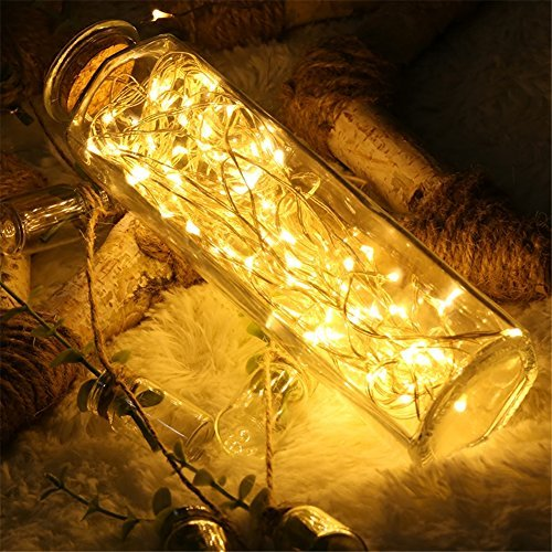 Goodia Copper Wire String Lights, 33ft 100 Micro LEDs Solar Firefly Lights Waterproof Decorative Lighting, Warm White -