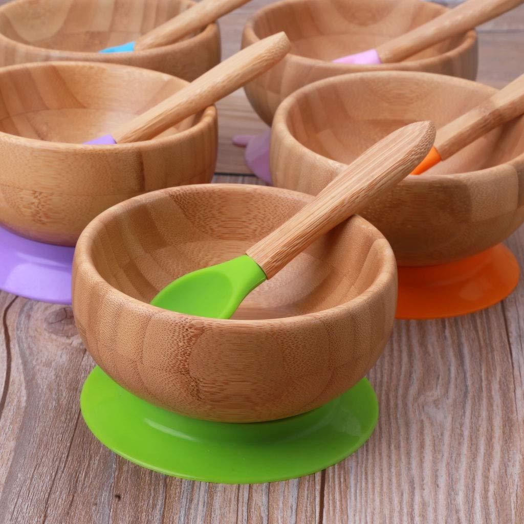 Cuillere B/éb/é Plateau Enfant Repas Assiette Compartiment bol bambou naturel Manyo Assiette /à ventouse pour B/éb/é Orange