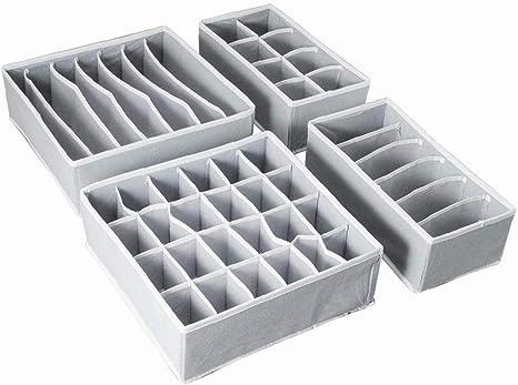 1pc Armario De La Ropa Interior Organizador, Caja De Almacenaje Plegable Del Cajón Divisor Kit Juego De 4 (gris): Amazon.es: Amazon.es