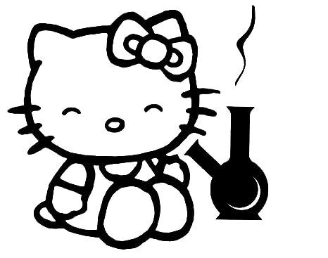 2 X Hello Kitty Stoned Fumar Aufkleber Adhesivo 12 Cm Weed Kush