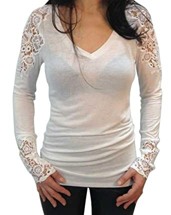 Nq Womens Sexy Lace Crochet Tops V Neck Solid Long Sleeve T Shirt