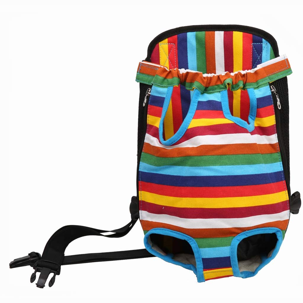 L QIQI-PET Dog Backpack Portable Pet Carrier for A Trip Outdoor Walking Hiking Bike Striped Backpack (Size   L)