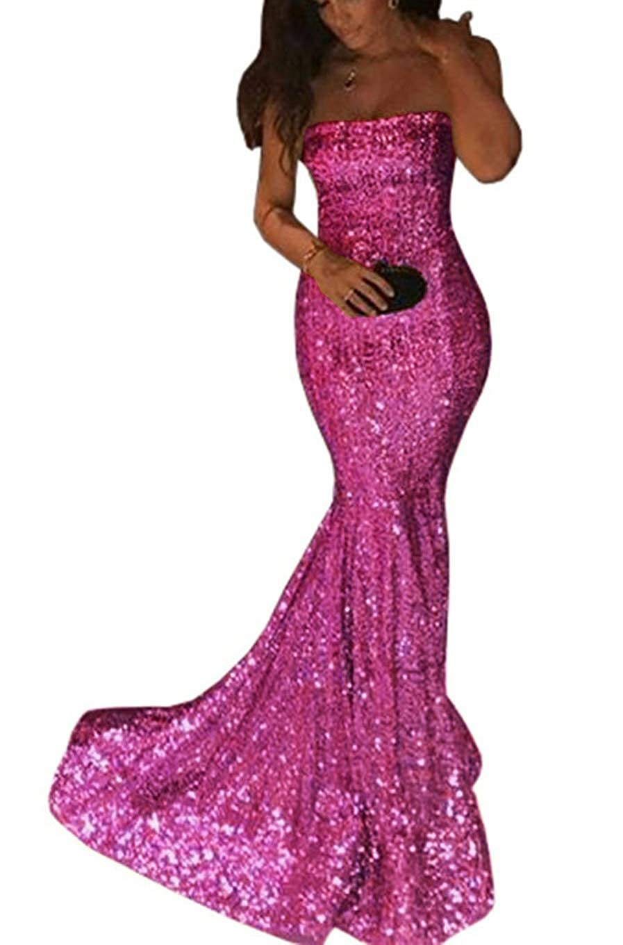 Hot Pink ZLQQ Sequins Mermaid Prom Bridesmaid Dress Strapless Long Evening Party Dress for Women