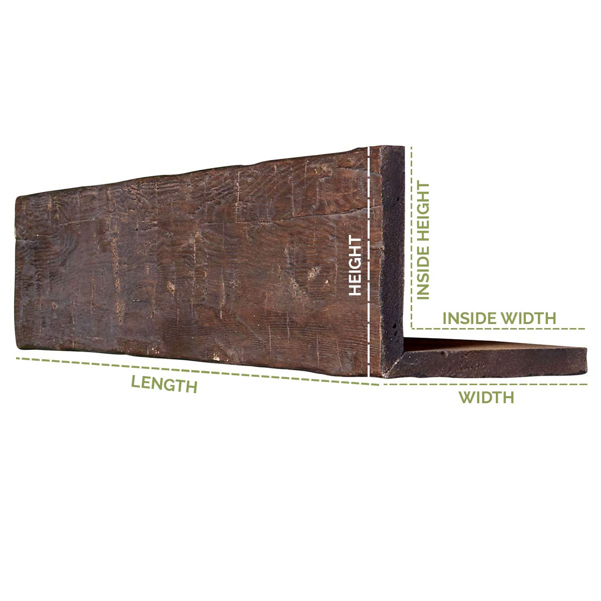 L-Beam Whitewash 6W x 10H x 12L 2-Sided Sandblasted Endurathane Faux Wood Ceiling Beam