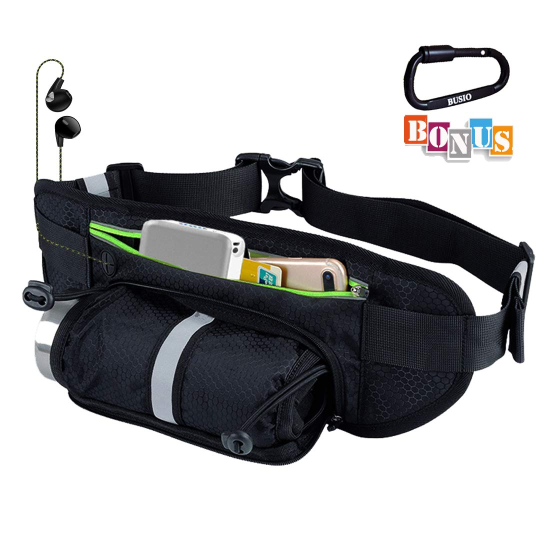 Slim Gym Fanny Pack Bike Running Waist Bag Women Men, Phone Pouch Bottle Holder Hydration Pocket Waterproof for Outdoor Workout, Travel, Hunting, Fishing BUSIO