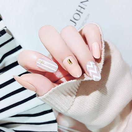 Brishow - Juego de 24 uñas postizas ovaladas y cortas para mujer ...