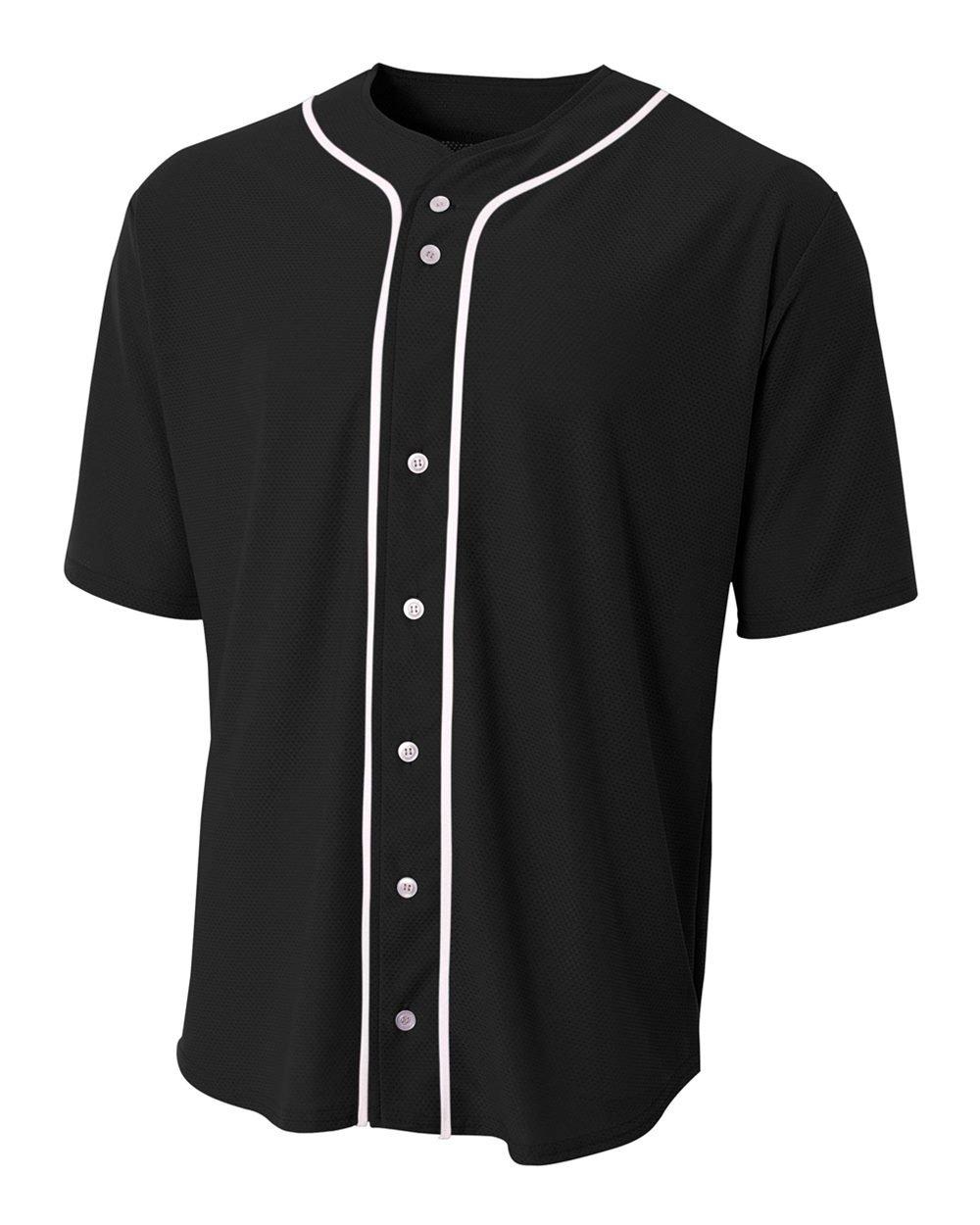 野球フルボタンカスタムまたは空白Wicking Jersey ( 8 Uniform色で子供大人用シャツサイズ10 ) B01M7SVU4T Youth Medium|Black (Blank) Black (Blank) Youth Medium