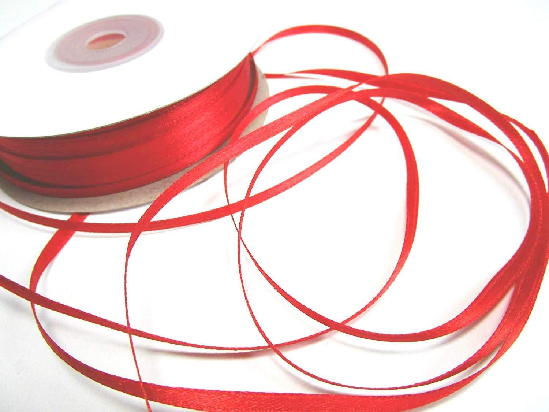 Rosso scuro 50m x 3 mm nastro di raso