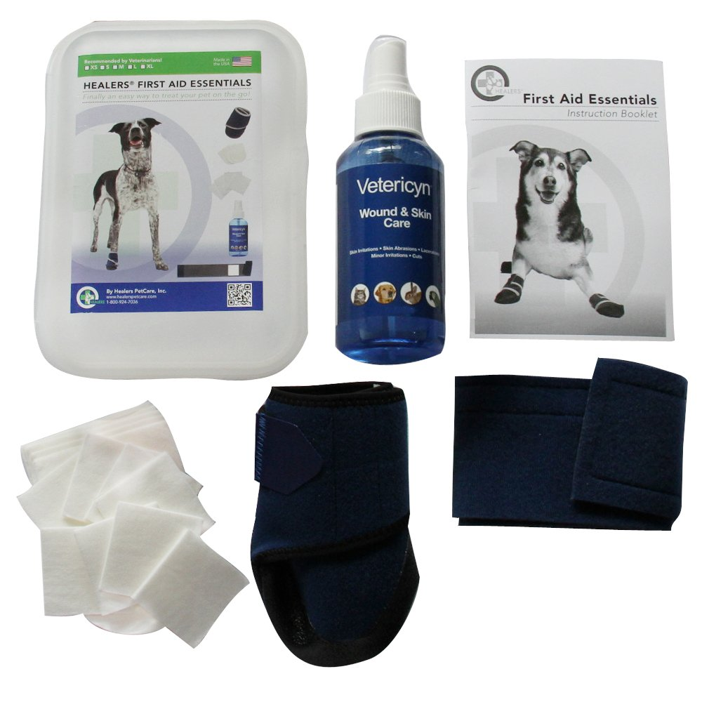 HEALERS PETCARE First Aid Essentials Kit with Vetericyn Spray for Pets, Hard Case, Medium