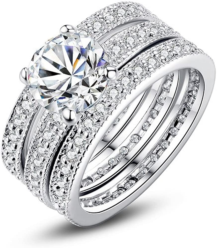Dixey Luxury Argollas de Matrimonio en Plata Anillos Sortijas 14 K de Compromiso Boda Anel de Prata 925 Joyeria Fina para Mujer: Amazon.es: Joyería