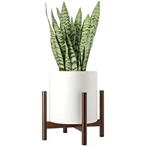 Mkono Plant Stand Mid Century Wood Flower Pot Holder Display Potted Rack Rustic, Up to 14 Inch Planter (Plant and Pot NOT Included), Dark Brown