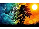 5D DIY Diamond Painting By Number Kits, Full Round Drill Starry Paintings Pictures Arts Craft for Home Wall Decor, Starry Sky 12X18 inch by Funsponsor (Starry Sky)
