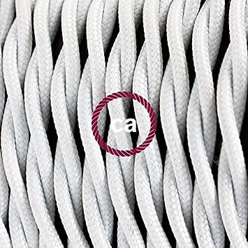 Cable El/éctrico Trenzado Recubierto en Tejido Efecto Seda Color S/ólido Blanco TM01-1 Metro 2x0.75