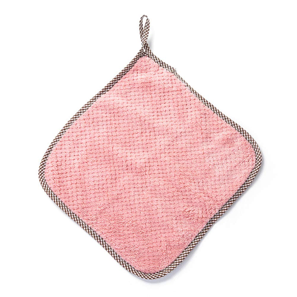 Buyanputra Coral Fleece Hand Washing Towel Hanging Loop Cleaning Tool Dish Cloth for Kitchen Pink