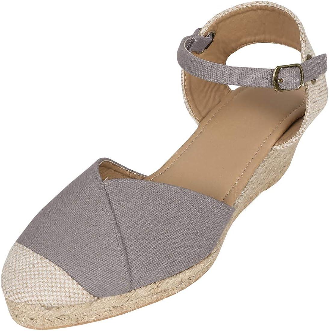 Womens Wedge Platform Espadrille Sandals Closed Toe Cap Ankle Strap Mid Heel Slingback Summer Shoes