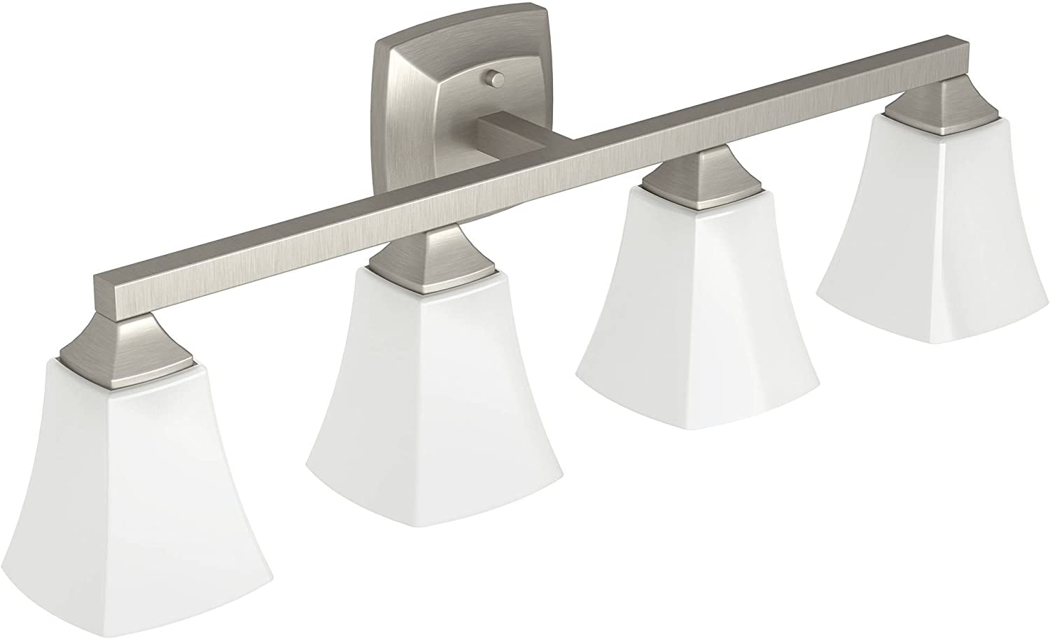 Moen YB5164BN Voss 4-Light Dual-Mount Bath Bathroom Vanity Fixture with Frosted Glass, Brushed Nickel