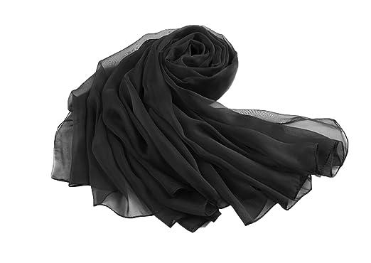 en arrivant plus tard modèles à la mode FLORA mousseline de soie longue étole/écharpe Châle/Foulard,230cm/90 (Noir)