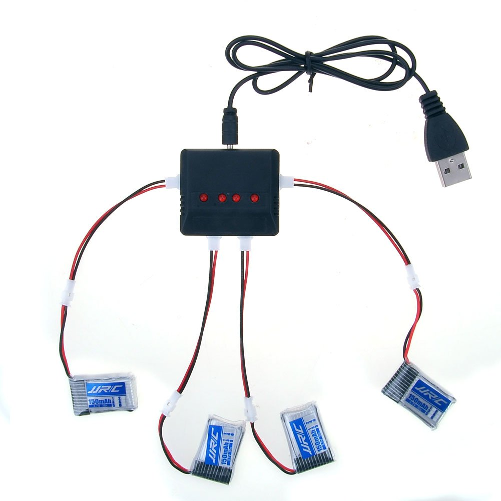 kingtoys® RC Drone Batería 4pcs 3.7V 150MAH Batería y 4 en 1 Cargador Cable de Conversión para JJRC H36 Quadcopter Haibei