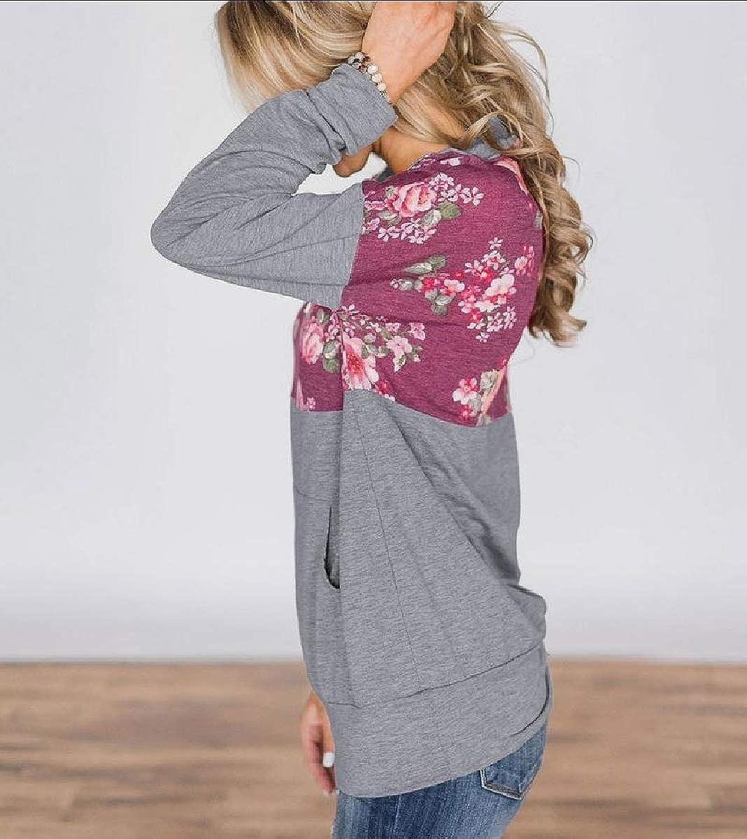 Mfasica Womens Leisure Pocket Autumn Camo Long Sleeve Sweatshirts Blouse