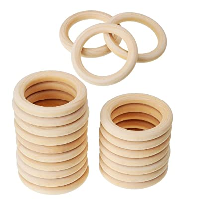Joysiya 20pcs Wooden Teething Rings Baby Infant Teether Wooden Bracelet Necklace DIY Craft 2.16inch(55mm): Toys & Games