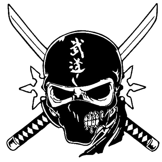 pegatina de pared Kendo Skull Sword Sticker Samurai Decal ...