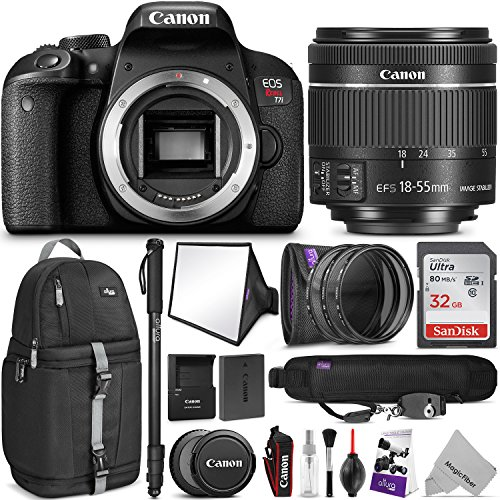 Canon EOS Rebel T7i DSLR Camera with 18-55mm Lens w/Advanced Photo and Travel Bundle