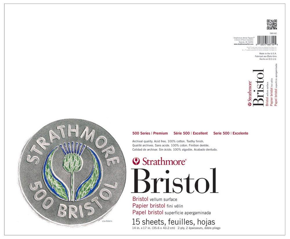 "Strathmore 580-82 500 Series Bristol, 2-Ply Vellum Surface, 14""x17"" Tape Bound, 15 Sheets"