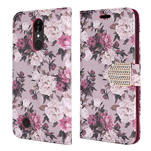 Luckiefind Case Compatible With LG Fortune/LG Phoenix 3 M150/LG Zone 4, Premium PU Leather Flip Wallet Credit Card Cover Case Accessories (Wallet White Rose) ()