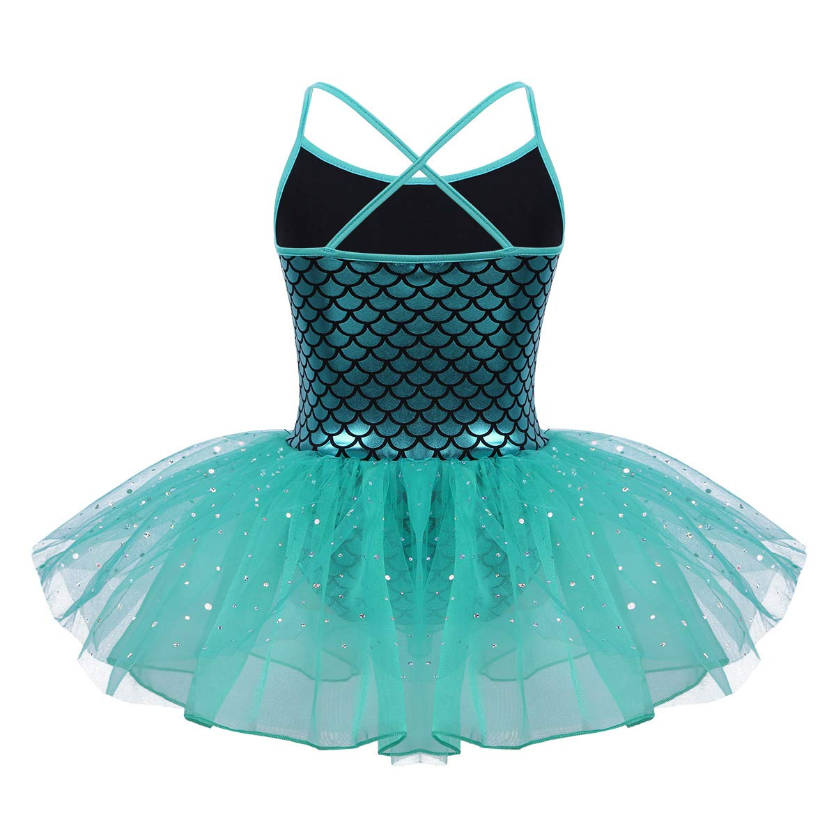 Alvivi Kids Girls Sparkly Mermaid Scales Ballet Tutu Dress Ballerina Gymanstic Skating Skirt Leotard Dress
