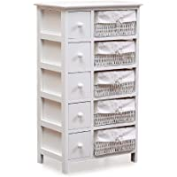 Levede Chest of Drawers Tallboy Dresser Bedside Tables Storage Cabinet White