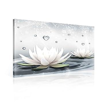 Weiße Lotusblume im Wasser Leinwandbild Wanddeko Kunstdruck