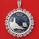 "US 2003 Maine State Quarter 90% Silver Proof Coin Soild 925 Sterling Silver Necklace w. 20"" Sterling Silver Chain NEW"