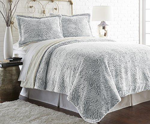 Amrapur 5FXSRTRG-GRY-KG 3 Piece Gray Faux Fur/Sherpa Comforter Set, (Faux Fur Comforter Set)