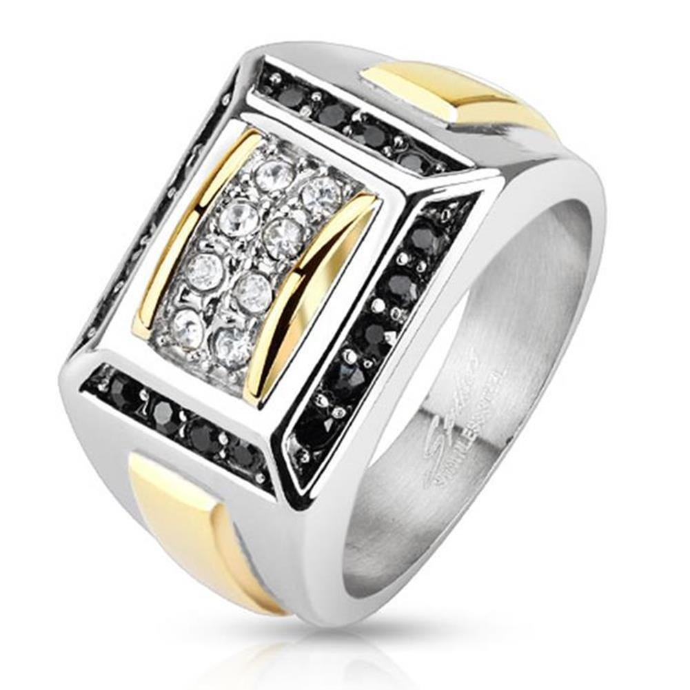 Paula & Fritz Stainless Steel Ring Surgical Steel 316L Gold Band and Square with Micro Zirconia - Size = 60 (19.1) - [R-H5613-09]