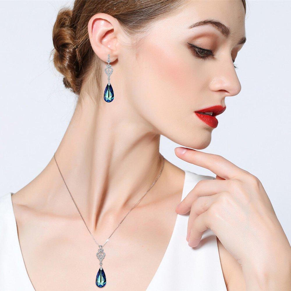 Flyonce Plata de Ley 925 CZ L/ágrima Candelabro Colgante Collar Pendientes Conjunto Adornado con Azul Marino Cristales Austr/íaco