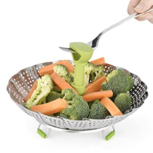 Stainless Steel Vegetable/Veggie Steamer Basket For Instant Cooking Pot With Handle And Legs, Foldable Food Container For Fish, Oyster, Crab, Seafood, Dumpling (6 Inch To 11 Inch, Dishwasher Safe)