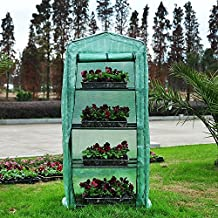 "Outsunny 27.6""×19.7""×63.0"" Portable Durable Garden Greenhouse with 4 Tiers Plant Flower Outdoor Green House"