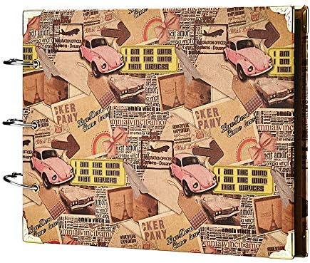 スクラップブックアルバム レザースクラップブック フォトアルバム DIYアルバム メモリブック ヴィンテージリーフスクラップブック レトロアップ トラベル スクラップブック アルバム 記念日 ウェディング ゲストブック 60ページ イエロー SHP0075