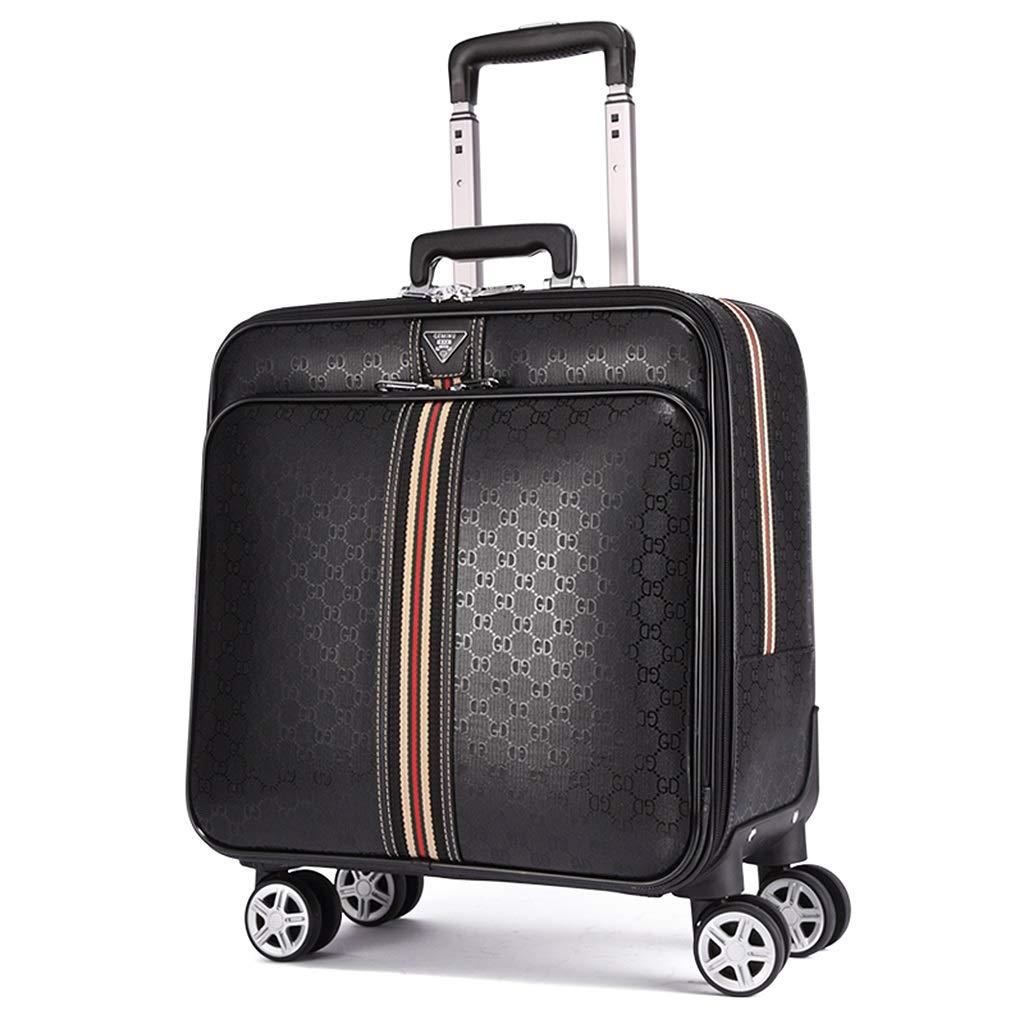 スーツケーススクエア16インチ、荷物ロック付き4輪荷物ブラック、小型PUトラベルバッグ、防水、傷防止、汚れ防止   B07MKJY8BQ