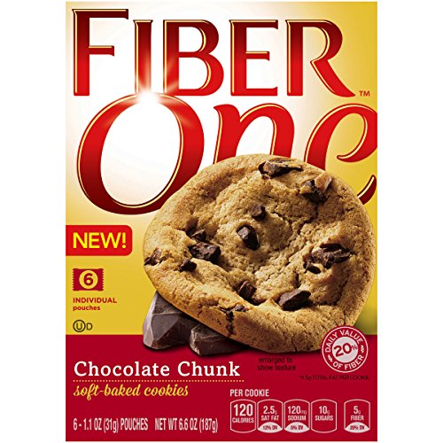 Cookie Brownie Bars - Fiber One Cookies, Soft Baked Chocolate Chunk Cookies, 6 Pouches, 6.6 oz