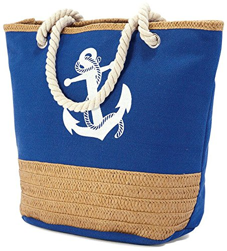 Soft Bag Blue Anchor Shell Aztec Bz4773 Canvas Handles Large Rope Beach with wfHPq