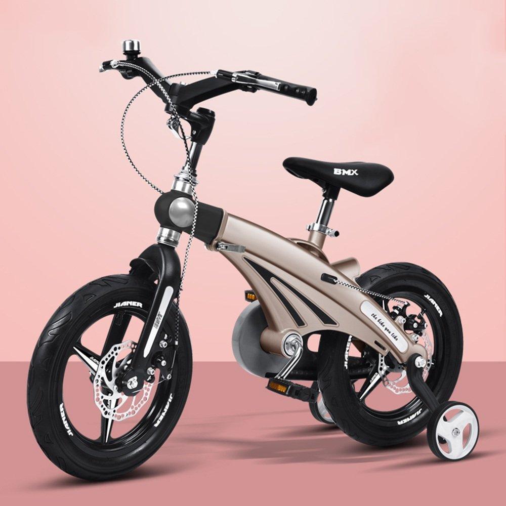 HAIZHEN マウンテンバイク 伸縮自在の子供用自転車ベビーカー12/14/16インチ子供用自転車サイクリングマウンテンバイク伸縮式フレーム折りたたみ式ハンドルバーシート/ハンドルの高さ調節可能 新生児 B00ZK232WQ 12 inch|ゴールド ゴールド 12 inch