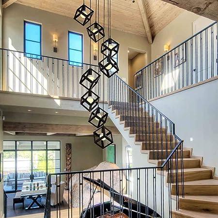 8 cabezas Luces múltiples Lámpara colgante de escalera Candelabro largo creativo de hierro Colgante de luz Plafón de diseño moderno para Sala Casa duplex Lámparas colgantes giratorias Negro E27,B: Amazon.es: Hogar
