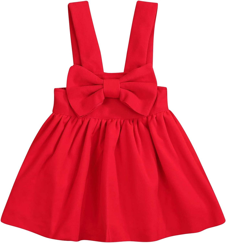 HAPPYMA 幼児 赤ちゃん 小さな女の子用 ストラップサスペンダースカート リボン結びプリンセスカジュアルドレス オーバーオール アウトフィット