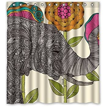 elephant decor ethnic tribal indian traditional good luck bathroom textile polyester fabric shower curtain 60x72