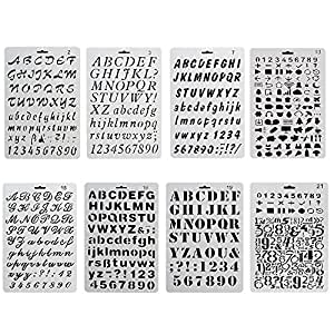 URlighting Bullet Journal Drawing Stencil Template Set (8 P cs) Plastic Planner Stencils with Letters Number Alphabet for Notebook/Diary / Scrapbook/Graffiti / Card, DIY Painting Craft Projects